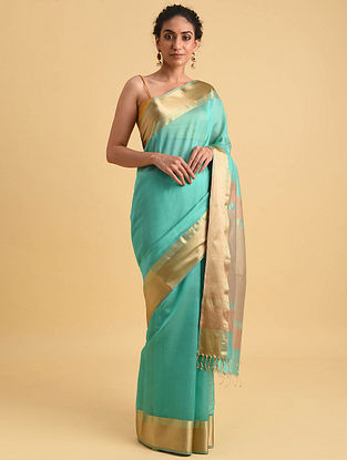 Blue Handwoven Maheshwari Silk Cotton Saree