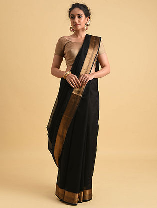 Black Handwoven Maheshwari Kota Silk Saree