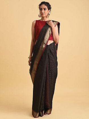 Black Handwoven Maheshwari Silk Cotton Saree