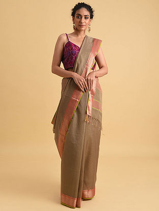 Beige Handwoven Maheshwari Silk Cotton Saree
