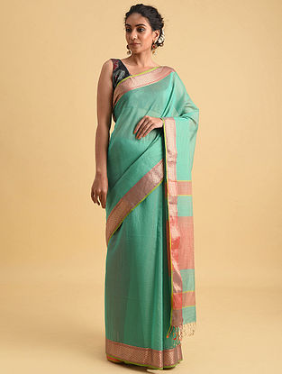 Green Handwoven Maheshwari Silk Cotton Saree