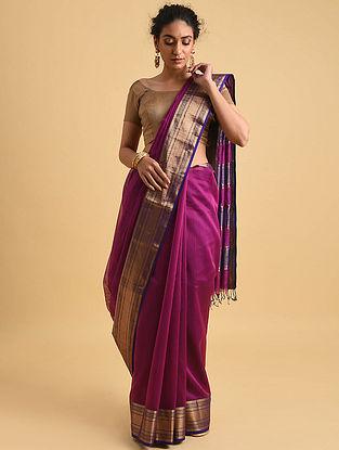 Purple Handwoven Maheshwari Silk Cotton Saree