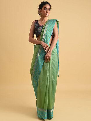 Blue-Green Handwoven Maheshwari Silk Cotton Saree