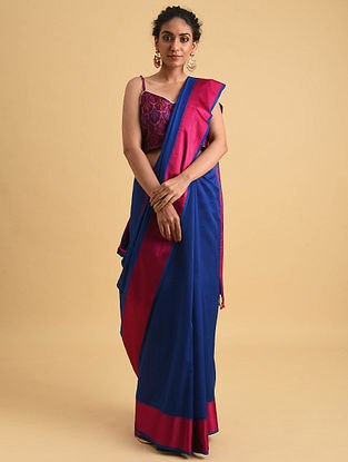 Blue-Pink Handwoven Maheshwari Silk Cotton Saree