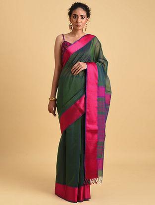 Green-Pink Handwoven Maheshwari Silk Cotton Saree