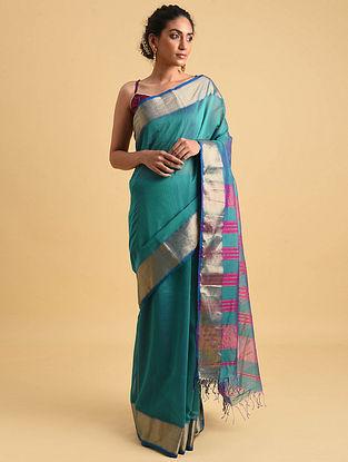 Green Sea Green Handwoven Maheshwari Silk Cotton Saree