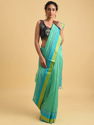 Blue-Green Handwoven Maheshwari Silk Cotton Saree