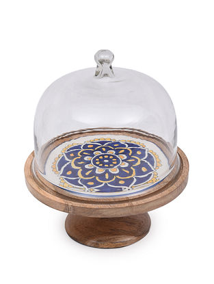 Indigo and Yellow Handcrafted Wood and Ceramic Cake Stand with Glass Lid (Dia - 10.25in, H - 12.50in)