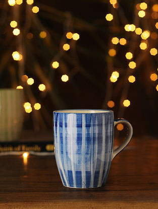 Indigo and White Handcrafted Ceramic Mug (L - 5in, W - 3.25in, H - 4.25in)