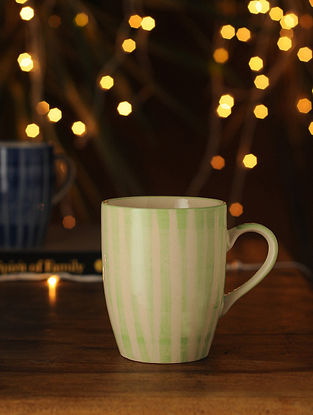 Lime Green and White Handcrafted Ceramic Mug (L - 5in, W - 3.25in, H - 4.25in)