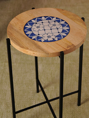 Indigo and White Handcrafted Iron and Wood Table (Dia - 15in, H - 23.25in)