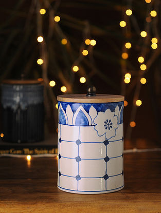 Indigo and White Handcrafted Ceramic Jar
