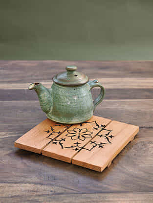 Orange Handcrafted Steam Beech Wood Trivet (L - 6in, W - 6in, H - 0.5 in)