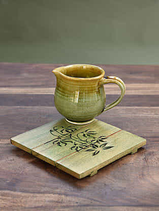 Green Handcrafted Steam Beech Wood Trivet (L - 6in, W - 6in, H - 0.5 in)