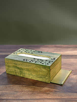 Green Handcrafted Mango Wood Tissue Box (L - 9in, W - 5.5in, H - 3.25in)
