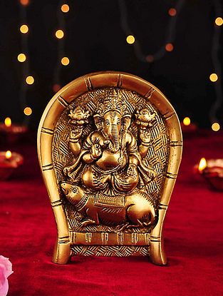 Brass Handcrafted Ganesh Sitting on Mouse Wall Accent (L- 6.6in, W- 5in)