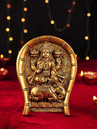 Brass Handcrafted Lakshmi Sitting on Elephant Wall Accent (L- 6.5in, W- 5.2in)
