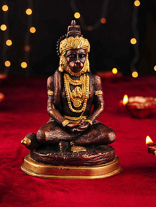 Brass Handcrafted Meditating Hanuman Tabletop Accent (L- 3.3in, W- 5in, H- 7.5in)