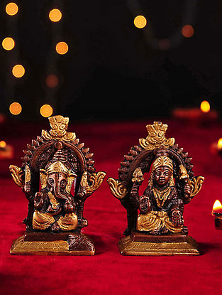 Brass Handcrafted Lakshmi and Ganesh Tabletop Accent (Set of 2)