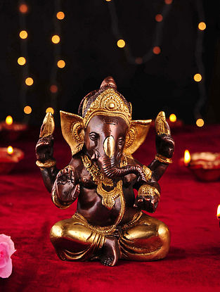 Brass Handcrafted Ganesh Tabletop Accent (L- 3in, W- 5.2in, H- 6.3in)