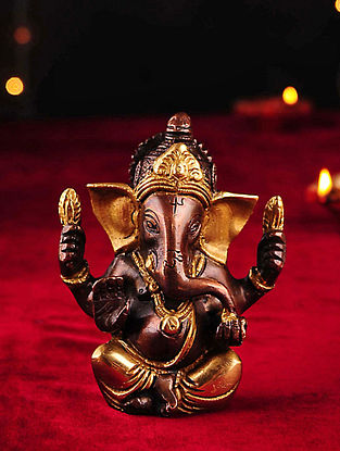 Brass Handcrafted Ganesh Tabletop Accent (L- 1.7in, W- 3.7in, H- 3.7in)