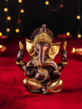 Brass Handcrafted Ganesh Tabletop Accent (L- 2.7in, W- 4.7in, H- 6in)