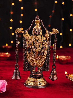 Brass Handcrafted Balaji Tabletop Accent with Bells (L- 3.1in, W- 5.5in, H- 8.5in)