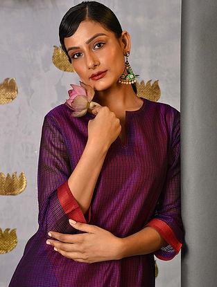 NARMADA - Purple Handloom Maheshwari Kurta with Contrast Border and Slip