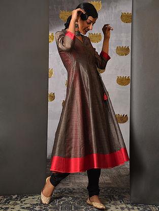 MAHI - Grey Handloom Maheshwari Angrakha with Contrast Border and Slip