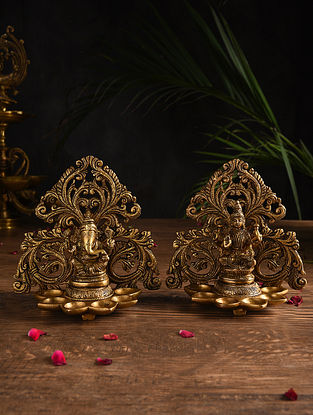 Lakshmi and Ganesh Brass Handcrafted Oil Lamp (Set of 2)