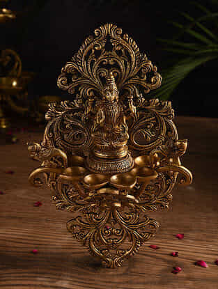 Lakshmi and Peacock Brass Handcrafted Oil Lamp