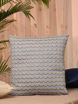 Blue Cotton Chambray Cushion Cover (18inX18in)
