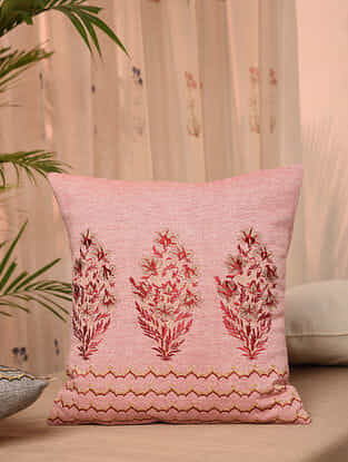 Pink Cotton Chambray Cushion Cover (16inX16in)