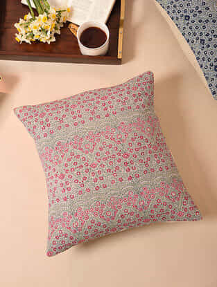 Aqua Pink Embroidered Handblock Printed Cushion Cover (16inX16in)