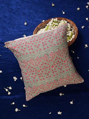 Aqua Pink Embroidered Handblock Printed Cushion Cover (16inX16in)