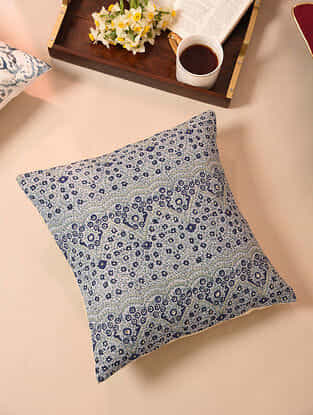 Indigo Embroidered Handblock Printed Cushion Cover (16inX16in)