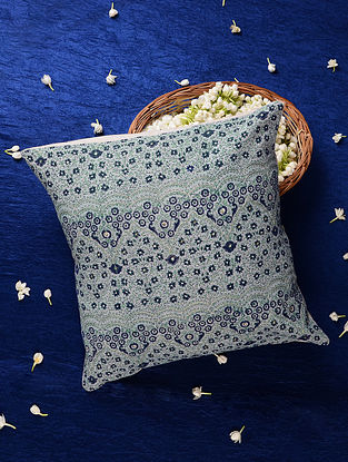 Indigo Embroidered Handblock Printed Cushion Cover (16inX16in)