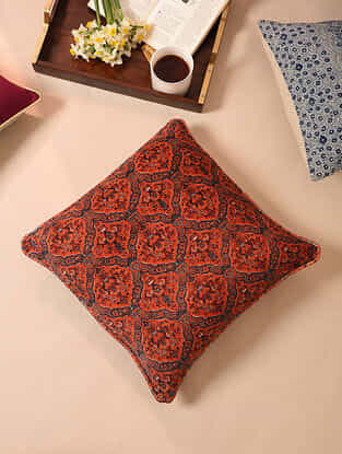 Red Blue Digital Printed Velvet Cotton Cushion Cover ( 16 x 16in)