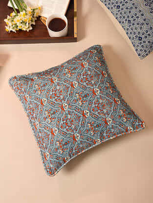 Blue Red Digital Printed Velvet Cotton Cushion Cover ( 16 x 16in)