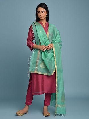 Green Handwoven Chanderi Silk Cotton Dupatta