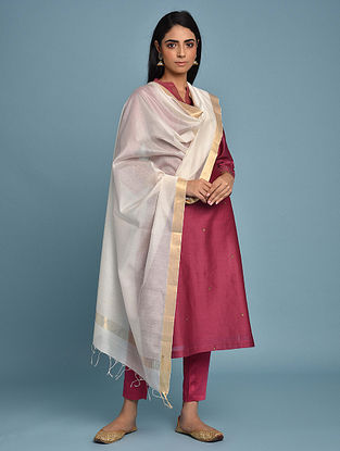 White Handwoven Maheshwari Silk Cotton Dupatta