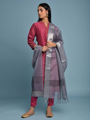 Grey Handwoven Maheshwari Silk Cotton Dupatta
