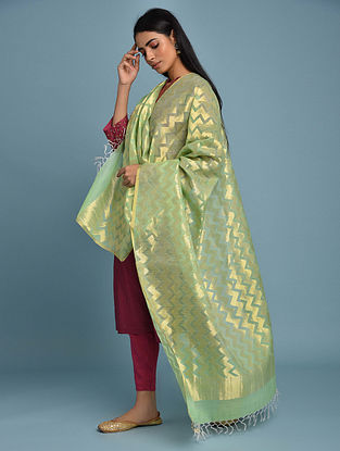 Green Handwoven Silk Cotton Dupatta