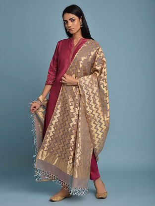 Light Purple Handwoven Silk Cotton Dupatta