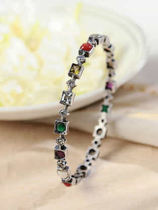 Multicolored Silver Bangle (Size: 2/6)