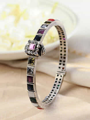 Multicolored Silver Bangle
