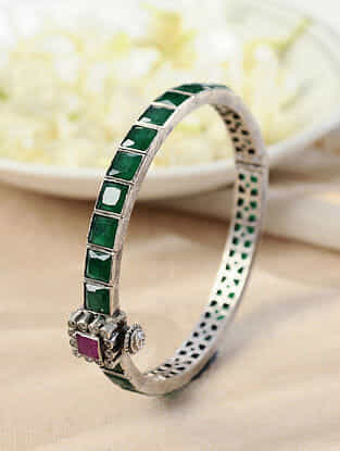 Maroon Green Temple Silver Hinged Bangle