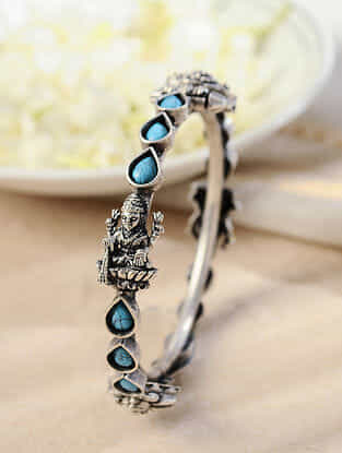Turquoise Temple Silver Hinged Bangle
