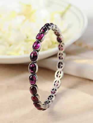 Maroon Temple Silver Bangle