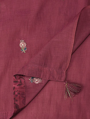 Maroon Embroidered Silk Cotton Dupatta With Bead Work
